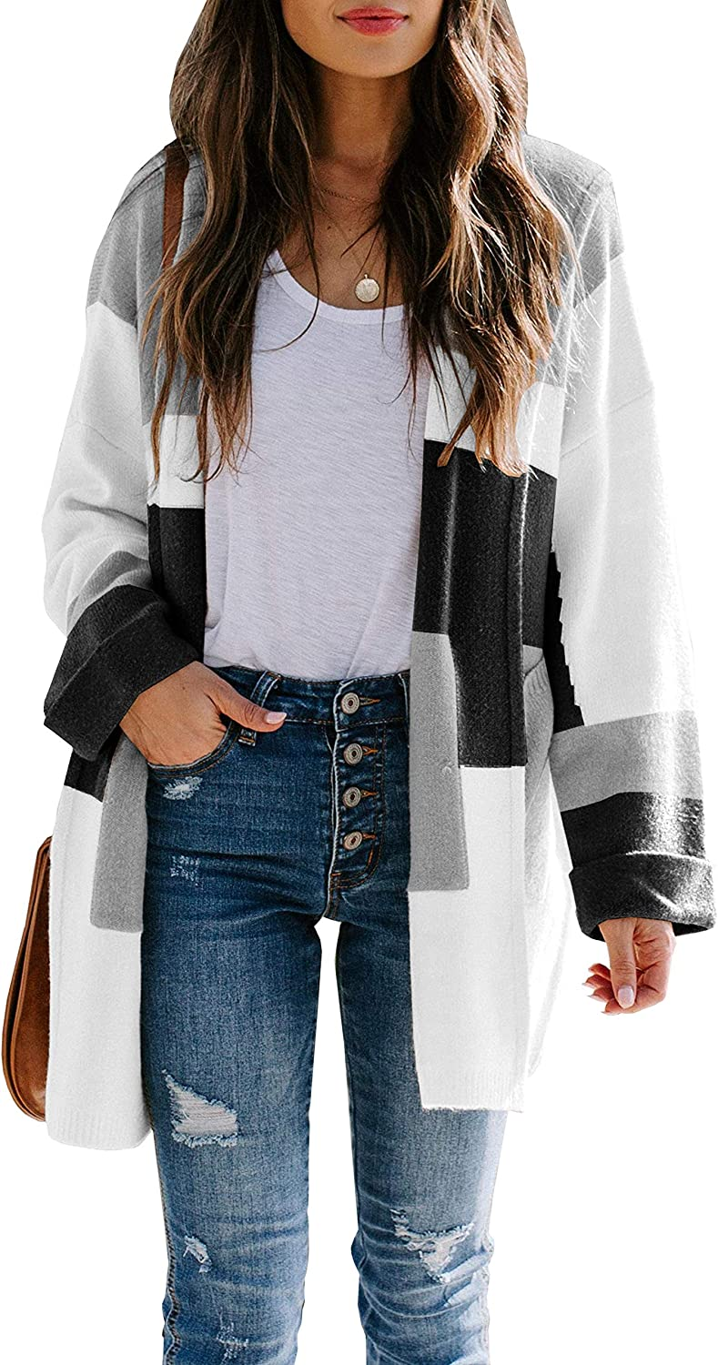 Fekermia Womens Button Down Long Cardigans Sweaters Open Front Chunky Cable Knit Loose Outwear Coats with Pockets