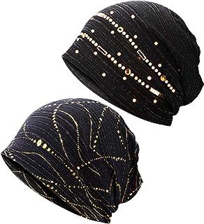 Geyoga 2 Pieces Women Cotton Beanie Cap with Rhinestone Sequin Caps Soft Sleep Cap Slouchy Hat for Women and Men Black
