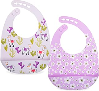Nuby 2 Pack Adjustable Easy Clean Soft Silicone Bibs with Scoop, Flowers & Llama