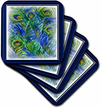 3dRose CST_28803_3 Peacock Feathers in Watercolors Ceramic Tile Coasters, Set of 4