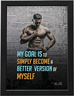 Amable Arts Framed Poster | GYM & Bodybuilder Motivational Poster with Black color Wood Frame | Bodybuilding and Workout Q...