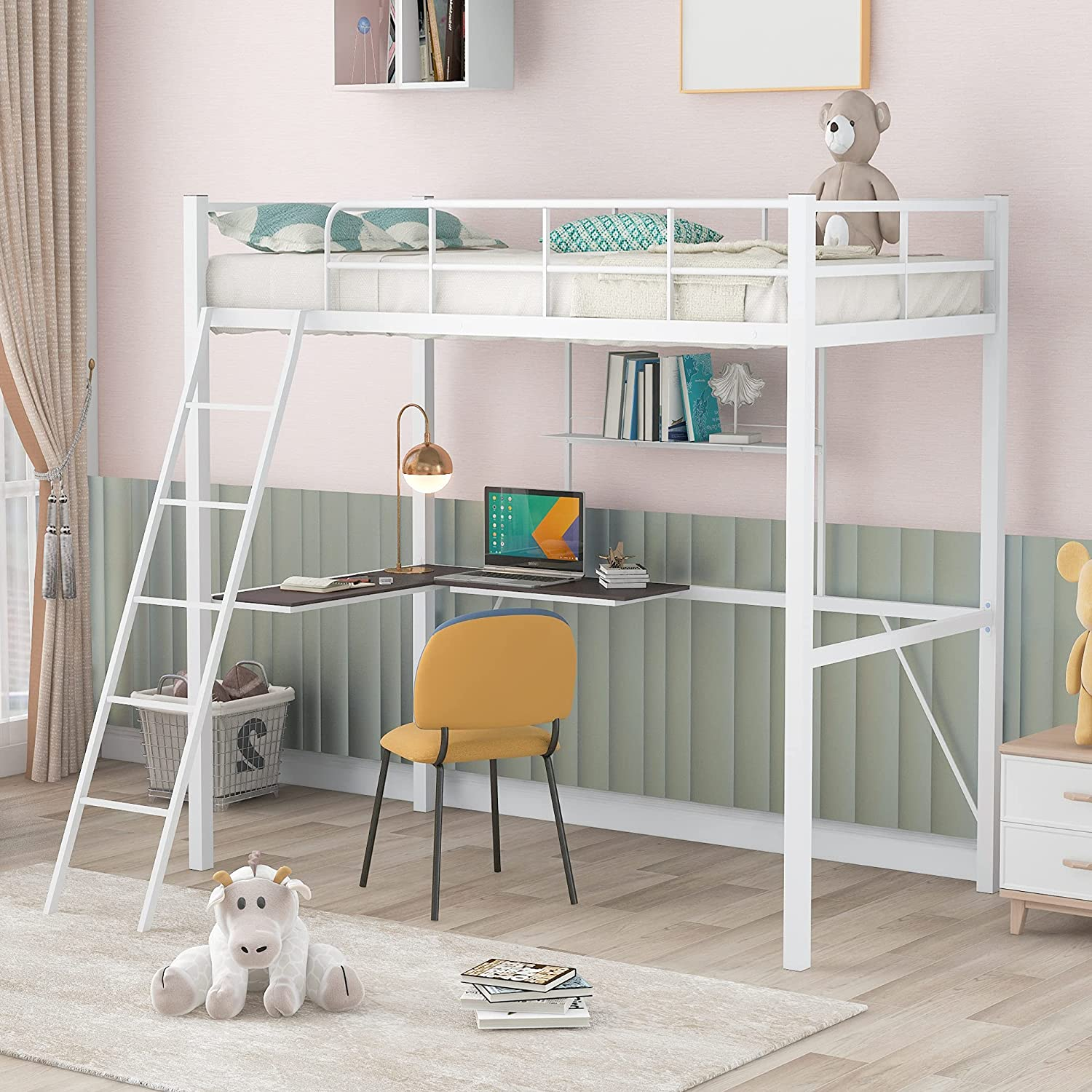 P PURLOVE Twin Size アイテム勢ぞろい Loft Bed High and Desk Shelf H 年末年始大決算 with