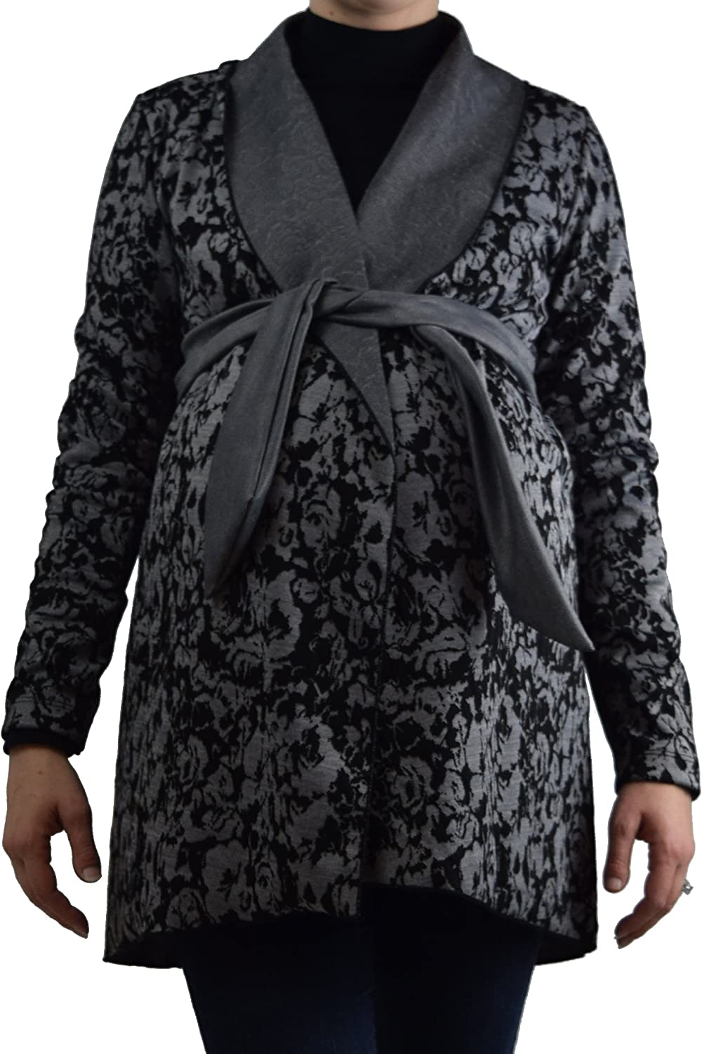 Embrace Your Bump Black & White Floral Maternity Flyaway Sweater Coat