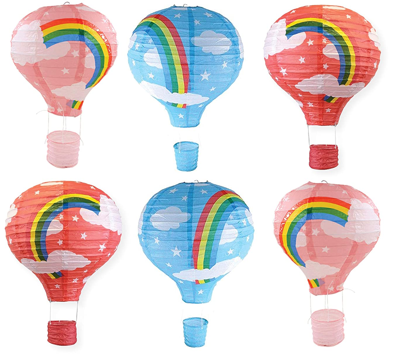 Hanging Rainbow Hot Air Balloon Paper Lanterns Set Party Decoration Birthday Wedding Christmas Party Decor Gift, 12 inch, Pack of 6 Pieces