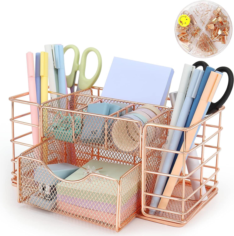 Rose Gold Desk Organizers and Accessories, Desk Supplies Organizer, Home Office Organizer Caddy, Cute Office Supplies and Desk Accessories, Metal Mesh Desk Drawer Organizer