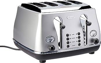 De'Longhi Icona Classic Toaster 4 Slice Toaster, Silver, CTO4003S