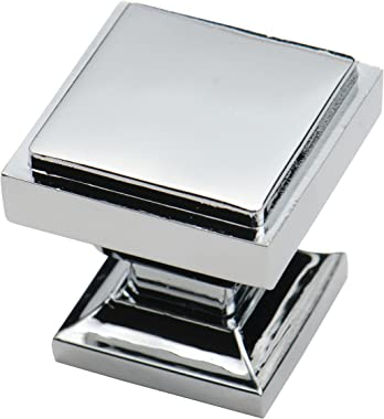 Southern Hills Polished Chrome Square Cabinet Knobs - Pack of 5 - Kitchen Pulls, Chrome Cabinet Hardware, Cupboard Drawer Kno