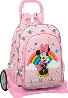 Mochila 180 Espalda Ergonómica con Carro Evolution de Minnie Mouse Rainbow, 330x140x420mm, rosa claro