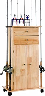 Organized Fishing Large Utility Box Cabinet for Fishing Tackle Storage, with Tools, Holds up to 18 Fishing Rods, LUBC-018A