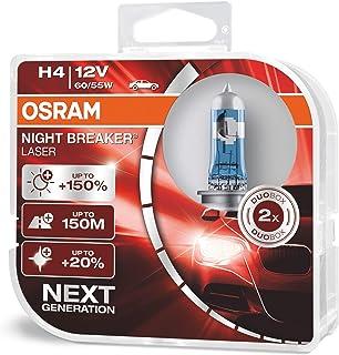 OSRAM NIGHT BREAKER LASER H4, Gen 2, +150% más luz, bombillas H4 para faros delanteros, 64193NL-HCB, 12V, duo box (2 lámpa...