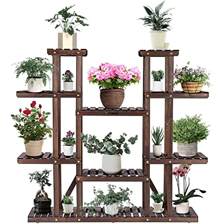 Amazon Com Tooca Plant Stand Wood Indoor 9 Tier 47 Inch Height Stylish Plant Shelf Steady Vertical Outdoor Tiered Plant Ladder Display Storage Rack Carbonized With 3 Gardening Tools Garden Outdoor