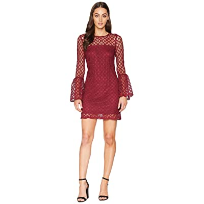 Laundry by Shelli Segal Lace Cocktail Dress with Bell Sleeves (Burgundy) Women