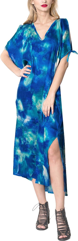 LA LEELA Swimsuit Beach wear Bikini Cover up Women Summer Embroidery Dress