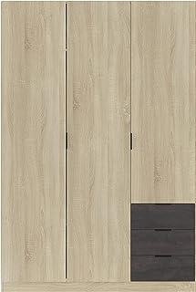 Loungitude - Armoire penderie 3 portes + 3 tiroirs L121 x H180 cm - Chêne clair
