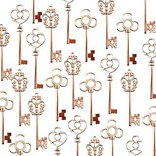 Makhry Large Skeleton Antique Keys in Rose Gold Style - Set of 30 Keys (Rose Gold)