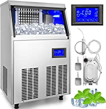 VBENLEM Commercial Ice Makers 80 to 90LBS per 24H with Water Drain Pump 33LBS Storage Free-Standing Commercial Ice Machine 4x8 Ice Cubes LCD Display Auto Clean for Restaurant Bar and Coffee Shop