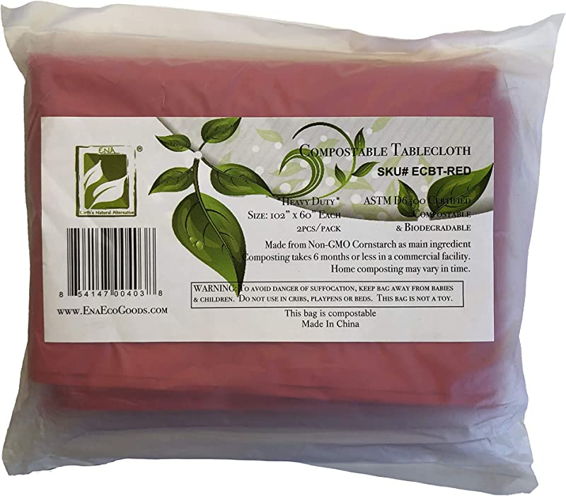 Earth S Natural Alternative ECBT 2 Piece Eco Friendly Compostable Tablecloth Red 102x60