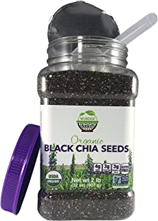Wunder Basket Organic Chia Seeds Black, 2 LB Jar, w/Scoop – Raw, Non-GMO, Vegan