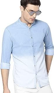 Dennis Lingo Men's Plain Slim fit Casual Shirt (C503_Ombre_M_Light Blue M)