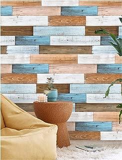 HaokHome 92057 Peel and Stick Shiplap Wallpaper Wood 17.7
