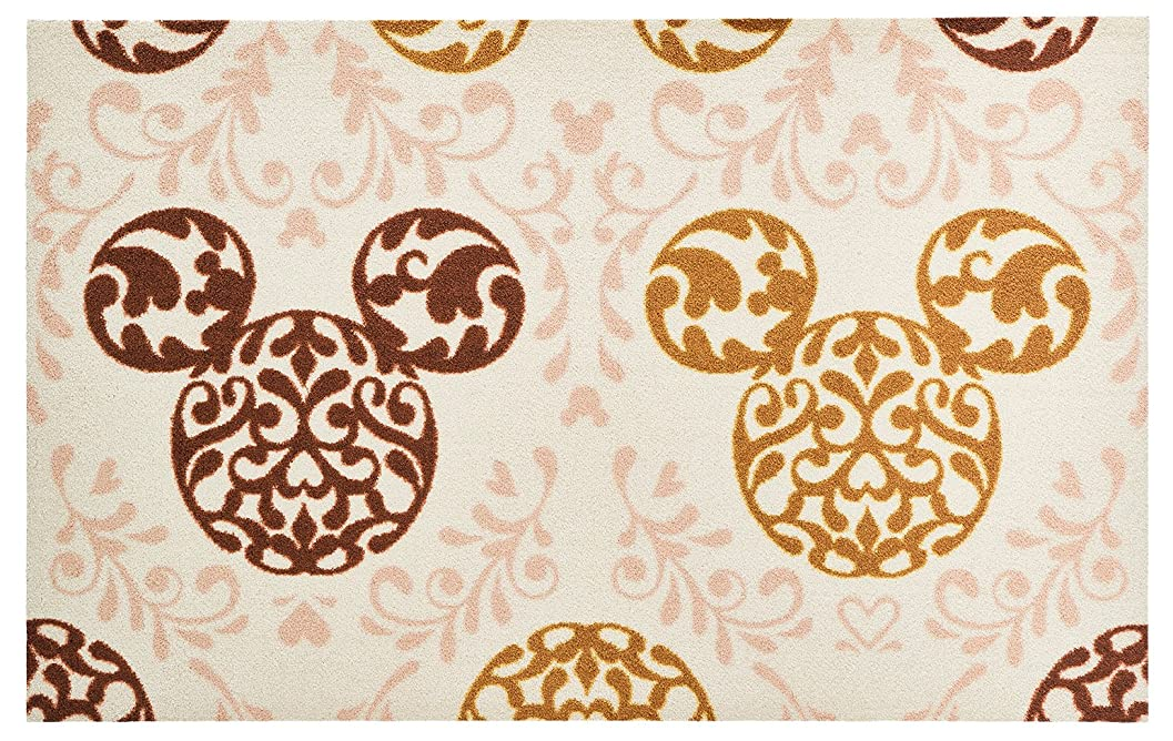 ピアース居心地の良いどうやらDisney Mat Collection / ディズニー 玄関マット Mickey / ミッキー ロココ調 ブラウン 75  ×  120  cm BK00033