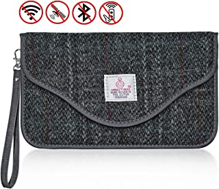 CigaMaTe Faraday Bag Cell Phone, Harris Tweed GPS RFID Signal Blocking Bag Car Key Fob Protector Pouch Privacy Protection Pouch Anti-Tracking Anti-Spying