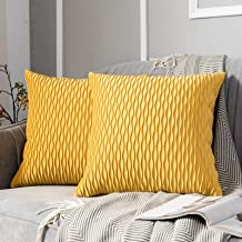 JUSPURBET Decorative Velvet Pillow Covers with Wave Striped,Pack of 2 Luxury Soft Cushion Cases for Couch Sofa Living Room...