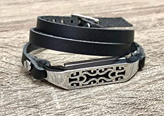 Black Genuine Leather Bracelet For Fitbit Flex 2 Tracker Handmade Multi Wrap Adjustable Size Strap Fitbit Flex 2 Band Unique Design Silver Jewelry Holder Women Fashion Fitbit Flex 2 Bracelet