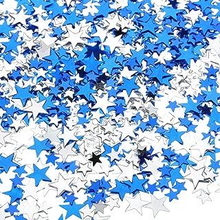 60 g Star Confetti Glitter Star Table Confetti Metallic Foil Stars for Party Wedding Festival Decorations (Blue Silver, 10mm and 6mm)