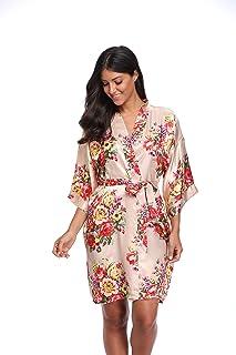 a489f0179b KimonoDeals Women s dept Satin Short Floral Kimono Robe for Wedding Party