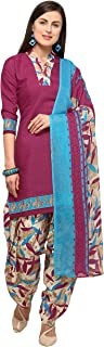 Rajnandini Dark Pink Cotton Salwar Suit For Women (Ready To Wear)(One Size)