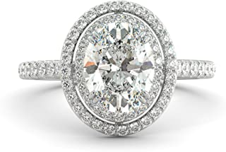 2.92 ct Oval Cut Charles & Colvard Forever One Moissanite & Diamond Halo Engagement Ring Pave 14k White Rose Yellow Gold