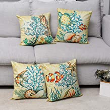 Dicry Ocean Animal Throw Pillow Covers Cotton Linen 18x18 Inch Set of 4, Soft Square Decorative Cushion Cases for Sofa Couch Bed Car