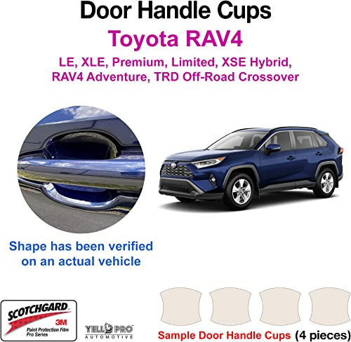 2021 YelloPro Custom Fit Door Handle Cup 3M Scotchgard lowest Anti Scratch Clear Paint Protector lowest Film Sheet Guard Self Healing PPF for 2019 2020 2021 Toyota RAV4 LE XLE Premium Limited XSE Hybrid outlet sale