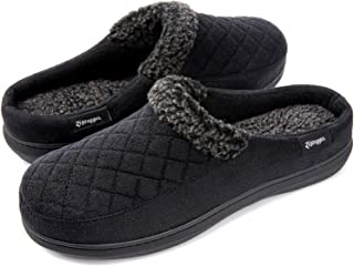 Zigzagger Men's Comfort Suede Fabric Memory Foam Slippers with Plush Fleece Lining