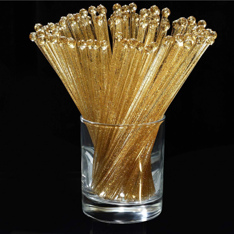   100 Pieces Disposible Plastic Round Top Crystal Swizzle Sticks (Golden): Swizzle Sticks