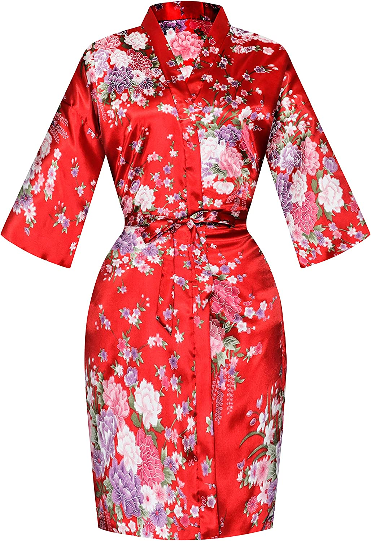 SEALINF Women's Floral Bridal Robe Bride Bridesmaid Short Kimono