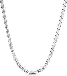 Collar de cadena de plata de ley 925 con diseño de espiga plana y flexible, collar de serpiente plana, 2,5 m - 5,5 mm. Joy...