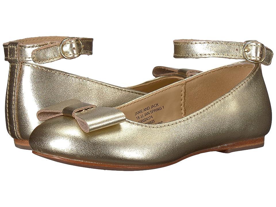 Janie and Jack Metallic Ankle Strap Ballet Flat (Toddler/Little Kid/Big Kid) (Metallic Gold) Girls Shoes