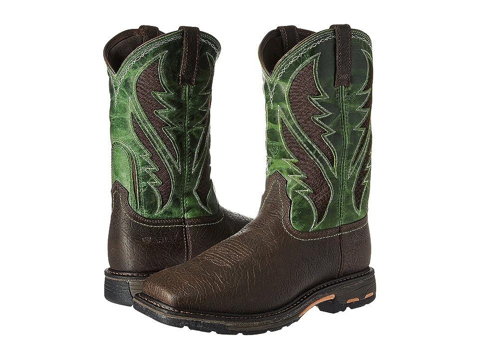 Ariat Workhog Venttek Soft Toe (Bruin Brown/Grass Green) Men