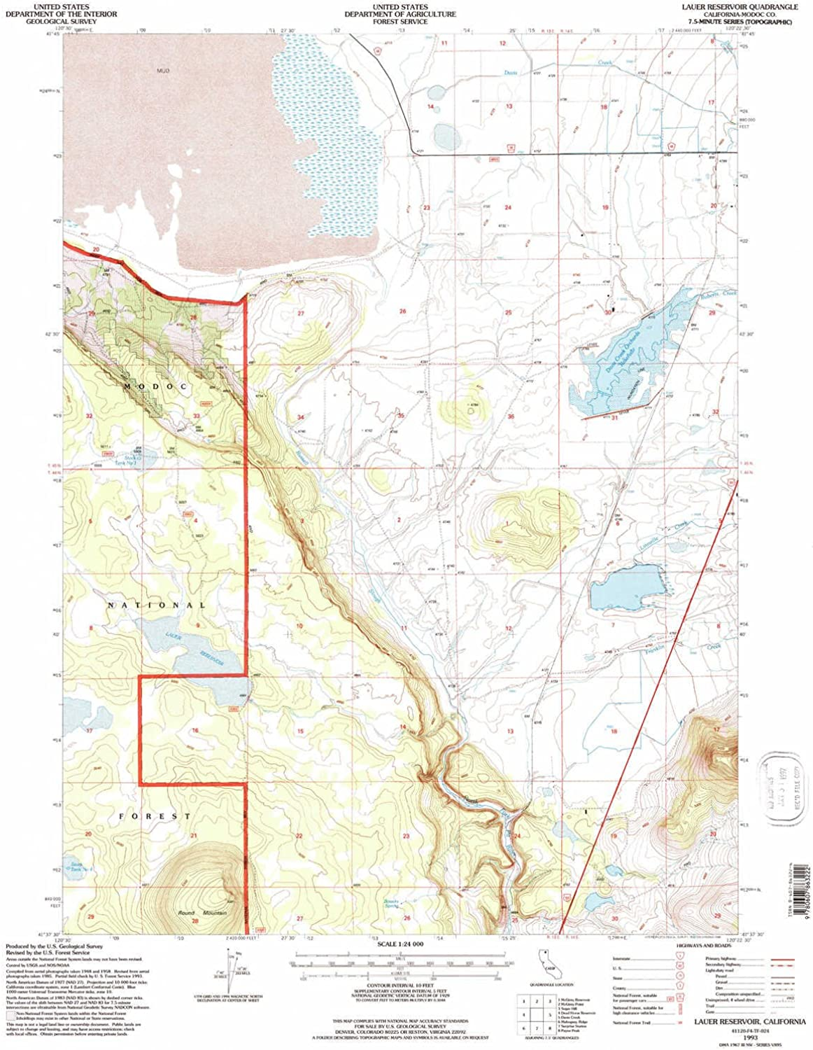 Lauer Reservoir CA topo map, 1 24000 Scale, 7.5 X 7.5 Minute, Historical, 1993, Updated 1996, 26.6 x 21.9 in