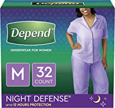 Depend Night Defense Incontinence Underwear for Women, Disposable, Overnight, M, Blush, 32 Count