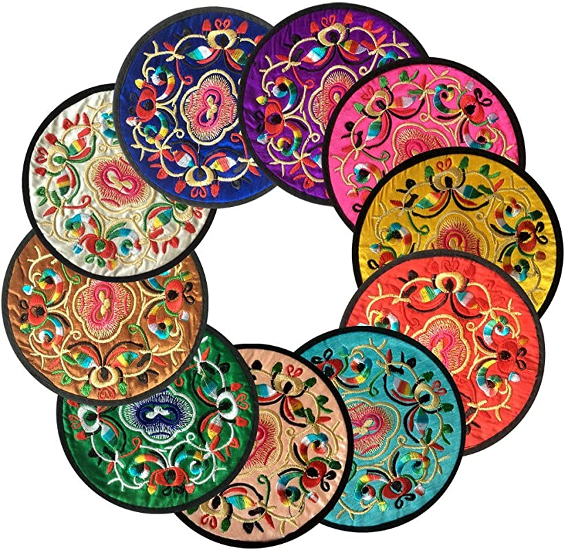 Ambielly Coasters For Drinks Vintage Ethnic Floral Design Fabric Coasters Value Pack 10pcs Set 5 12 13cm Mixed Colors