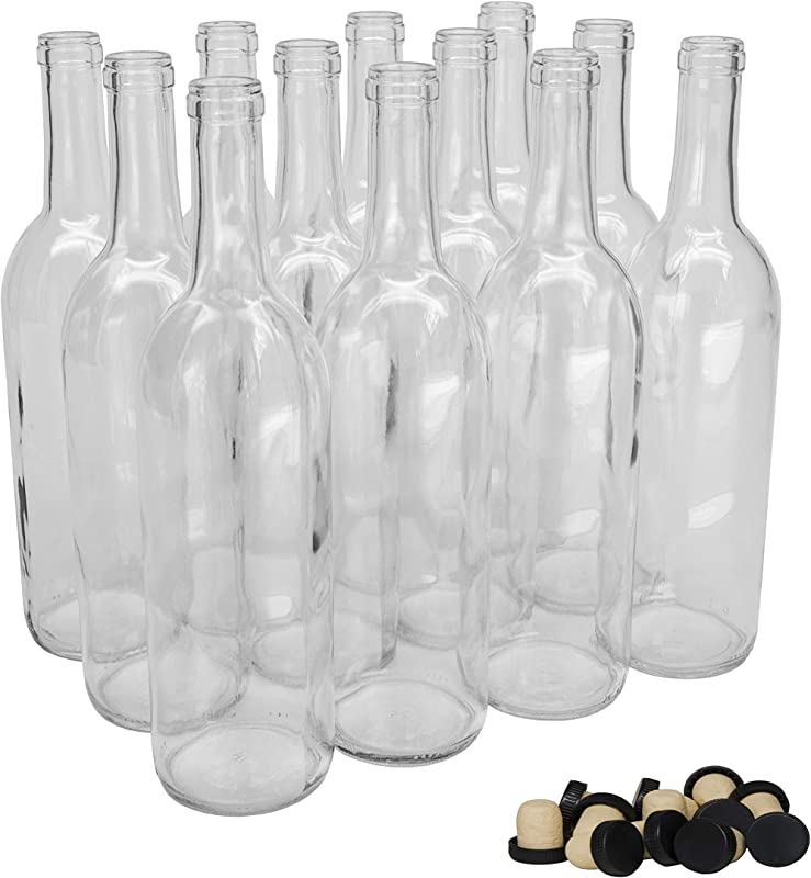 North Mountain Supply 750ml Clear Glass Bordeaux Wine Bottle Flat Bottomed Cork Finish With Tasting Corks Case Of 12