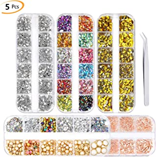 Phogry 3000Pcs (5 Boxes) Nail Art Rhinestone Kit Multi Design Accessories with Tweezers Colorful Horse Eye Rhinestones Metal Studs Pearls for Nail DIY Decoration