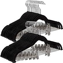 SONGMICS 30 st. broekhanger, 42,5 cm Fluwelen kleerhanger met verstelbare clips, heavy duty, anti-slip en ruimtebesparend,...