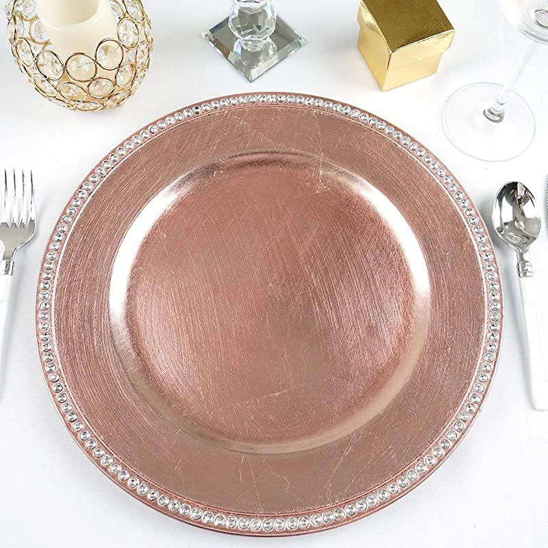 Efavormart 13 Round Blush Rose Gold Crystal Beaded Charger Plates Wedding Party Dinner Servers For Tabletop Decor Set Of 6
