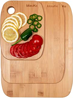 Bamboo Cutting Board Set of 3 (S, M, L) – Organic Bamboo Cutting Boards for Meat Cheese & Vegetables – Wooden Chopping Boa...