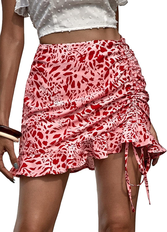 Milumia Women's Boho Floral Print Asymmetrical Ruffle Hem Drawstring Ruched Mini Skirt