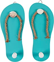 Juvale Wooden Flip Flop Shaped Ornament Hooks - 1-Pair Wall Hook with Beach Nautical Designed Decoration for Bathroom, Bedroom, and Kitchen, Turquoise Blue, 8.6 x 3.75 x 0.3 Inches Each